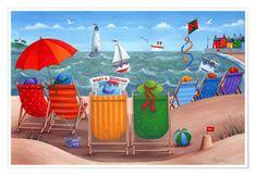 Posterlounge Foam board print 60 x 40 cm Beach hut rainbow scene by Peter Adderley//MGL Licensing