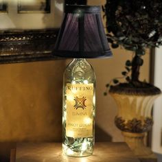 Lamp out of wine bottle