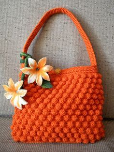 Crochet Purses Ideas Orange crocheted purse with felted flowers - photo link only. Would be easy to replicate. Crochet Handbags, Crochet Purses, Love Crochet, Knit Or Crochet, Beautiful Crochet, Crochet Crafts, Yarn Crafts, Crochet Bags, Purse Patterns