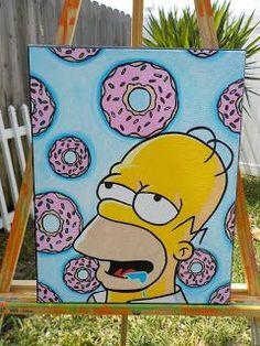 Pop Art Raid: Homer Simpson& Dream Acrylic on Canvas Pop Art Raid . - Pop Art Raid: Homer Simpson& Dream Acrylic on Canvas Pop Art Raid … Pop Art Raid: Homer Sim - Simple Canvas Paintings, Easy Canvas Art, Small Canvas Art, Mini Canvas Art, Cute Paintings, Acrylic Painting Canvas, Acrylic Art, Drawing On Canvas, Hippie Painting