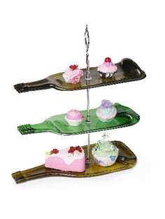 3 tier melted glass bottle cake stand by Aramica on Etsy Wine Bottle Candles, Wine Bottle Art, Diy Bottle, Wine Cork Art, Bottle Cake, Recycled Glass Bottles, Glass Bottle Crafts, Stained Glass Birds, Stained Glass Panels