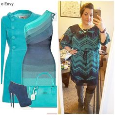 #ChubbyChique 4-4-2016 #ootd #beYOUtiful16 #pinneditspinnedit Navy and teal dress inspiration