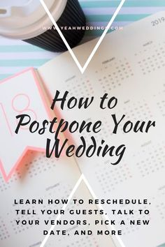 Have to postpone your wedding because of COVID-19? Click this guide to learn more for rescheduling your wedding and more. #PostponedWedding #howtopostponewedding #Weddingschedule #weddingplanner #covidwedding #staysafe #Weddinghelp #weddingtips Wedding Tips For Vendors, Wedding Planning Guide, Wedding Trends, Event Planning, Wedding Schedule, Wedding Planner, Top Honeymoon Destinations, Wedding Insurance, Social Media Pages