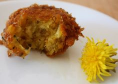 lil fish studios: dandelion fritters with cheese