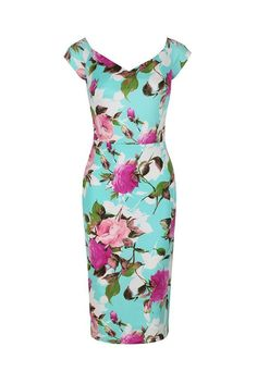 Pale Turquoise and Pink Floral Print Wiggle Pencil Dress Turquoise Dress Outfit, Dress Outfits, Fashion Dresses, Teen Girl Fashion, Trendy Fashion, Spring Couture, Couture Week, Bodycon Fashion, Wiggle Dress