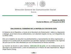 Boletín Diálogo Gobierno de La República con SNTE-CNTE.