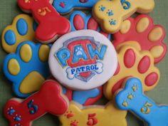 Paw patrol cookies. Paw prints. Dog bones.  Birthday.
