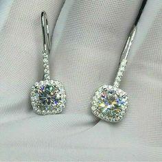 4.0CT Pear Cut Created Diamond Teardrop Dangle Leverback Earrings 14k White Gold