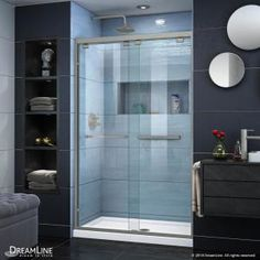 DreamLine Encore 34 in. D x 48 in. W x in. H Semi-Frameless Sliding Shower Door in Satin Black with Center Drain Black - The Home Depot DreamLine Encore 34 in. D x 48 in. W x in. H Semi-Frameless Sliding Shower Door in Frameless Sliding Shower Doors, Sliding Doors, Dreamline Shower, Shower Base, Shower Kits, Shower Enclosure, Tub Enclosures, Glass Design, Glass Panels