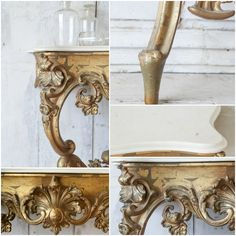 Eloquence One of a Kind Antique Gilt Console Marble Top Table