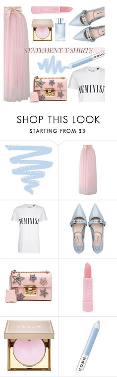"""""""Slogan T-Shirt: Be Feminist!"""" by keepfashion92 ❤ liked on Polyvore featuring Chicwish, Tee and Cake, Miu Miu, Gucci, Forever 21, Stila, Marc Jacobs and Orlane"""