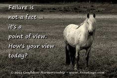 Failure is not a fact ... it's a point of view. How high expectations take the fun out of riding.