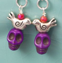Day of the Dead Sugar Skull earrings by VivaGailBeads on Etsy, $9.50