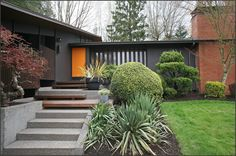 Charcoal paint with darker trim 1956 mid-century modern historic zaik residence exterior...my favorite!