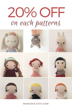 Super sale of amigurumi patterns from Manuska.  Crochet doll patterns, amigurumi doll patterns, crochet bunny patterns, amigurumi bunny patterns