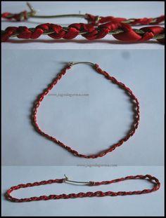 Opaska na włosy, z czerwonej wstążki i złotej gumki www.facebook.com/BransoletkizMuliny www.jagodagorna.com