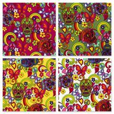 GOTHIC SKULLS TATOO Cotton Poplin Rose & Hubble Dress Halloween Crafts Fabric