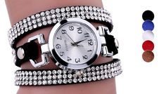 Lyra Wrap Watch Made With Swarovski Elements - 5 Colours Keep your eye on the time with the Lyra Wrap Watch      Available in 5 colours: red, brown, black, white and blue      Finished in high-polished alloy with a faux leather strap      Sparkling design made ith Swarovski Elements      Dial Diameter: 2.2cm      Band Width: 0.6cm      Band Length: 56cm      Save 82% with the Lyra Wrap Watches...