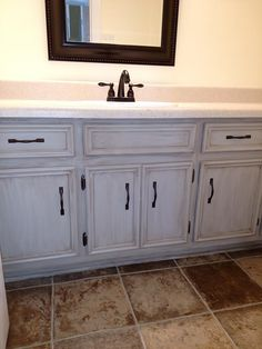 redo your bathroom cabinets for 10 chalk mineral paint is super