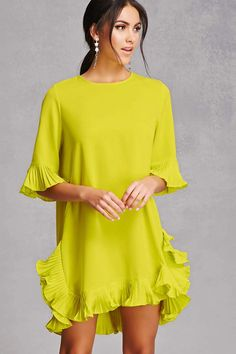A woven shift dress - an accordion pleated ruffle trim Neon Dresses, Event Dresses, Cute Dresses, Casual Dresses, Hot Outfits, Pretty Outfits, Fashion Outfits, Womens Fashion, Clothing Blogs