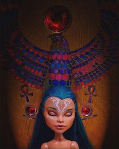My ooak of Nefera de Nile♥ Photo by @schizoplane  #ooak #repaint #custom #wild #eah #monsterhigh #firexia #schizoplane #dolls #mattel #nefera #egipt #amon