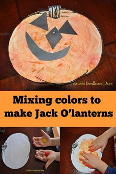 Create a fun jack o'lantern by mixing colored paint