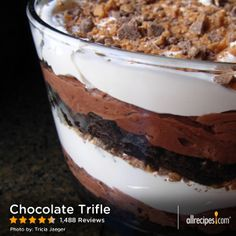"Chocolate Trifle | ""Delicious recipe! I did not use the brownie mix instead I made the Absolutely Best Brownies recipe here on AR. Also made my own whipped cream topping and sprinkled mini chocolate chips on top of trifle."""