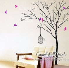 Tree and birds birdcage wall decals, wall mural children wall sticker nursery graphic vinyl wall art - winter tree birds Z171 by cuma   USD74