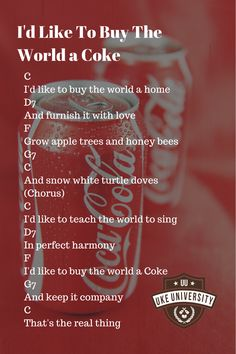 """Ukulele chords for the song """"buy the world a coke"""""""