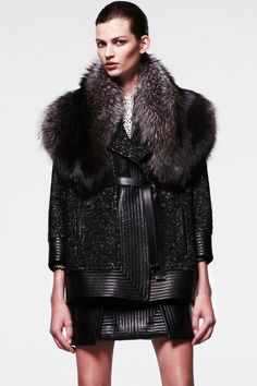 Oh, J Mendel, how you make my world a better place for your leathers and furs! Wear this with or without semi-opaque dark grey or black tights and something ridiculously high, lace-up and preferably lug bottomed with a streamlined look. J. Mendel | Pre-Fall 2014 Collection | Style.com