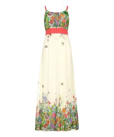 Ivory & Pink Floral Maxi Dress #zulily *how sweet