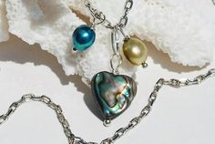 Abalone Necklace Pearls Paua Shell Silver by ornatetreasures, $24.00
