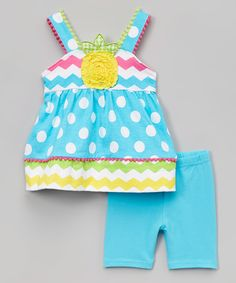 This Blue Polka Dot Pineapple Tank & Shorts - Infant, Toddler & Girls by Nannette Girl is perfect! #zulilyfinds