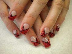 Red and black polka dot tips - French Nails So Nails, Glam Nails, Beauty Nails, Cute Nails, Pretty Nails, Hair And Nails, Dot Nail Designs, French Nail Designs, Beautiful Nail Designs