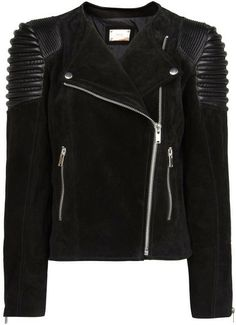 Quilted Panel Suede Jacket - Lyst