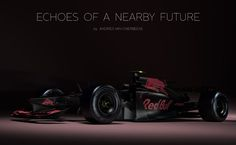 """Welcome to the age of """"why don't we have jet cars yet?"""" What will our Formula One cars look like in the near future? Fan and designer Andries van Overbeeke put together this stunning concept of what he envisions as a 2017 Red Bull car. Red Bull, Formula 1 Car, Helmet Design, Near Future, First Car, Concept Cars, Futuristic, Race Cars, Van"""