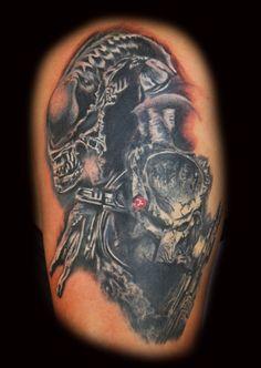 My Tattoo Designs: Alien Vs Predator Tattoo Design My Tattoo, Tattoo Designs, Predator Tattoo, Alien Tattoo, Cool Tats, Skull, More, Pop Culture, Ideas