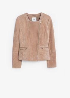 Zipped suede jacket | MANGO
