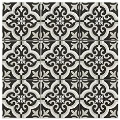"""7.75""""x7.75"""" Braga Classic Ceramic Wall/Floor Tile with black grout"""