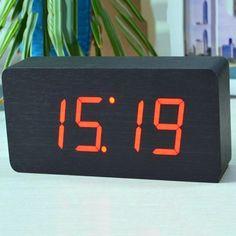 Big numbers Digital Clock Top Quality Alarm Clocks With Temperature,Wooden Wood Table Clocks LED Display Digital Alarm Clock, Alarm Clocks, Red, Numbers, Black, Ideas, Black People, Alarm Clock, Thoughts