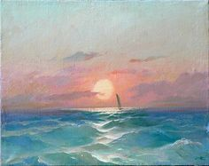 Lonely Sailing Ship seascape - oil painting