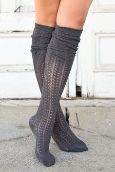 Get ready for that fall transition! Our Charcoal Knit Thigh High Boot Socks are both soft and stylish for the upcoming seasons! The lightweight soft knit material looks so cute either pulled up with r Thigh High Sock Boots, Knee High Socks, High Heel Boots, Heeled Boots, Knee Boots, Hot High Heels, Cute Socks, Frilly Socks, Boot Socks