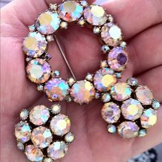 ❥ Vintage Weiss AB Rhinestone~ love the AB sparkle -my Grandma sported these....miss her so much!