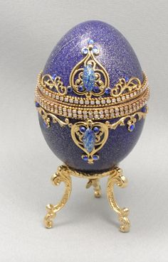Blue Music Egg Jewelry Box Playing Swan Lake, Faberge Style Decorated Egg