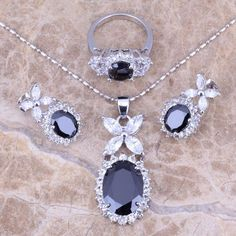 Hot Sell ! Black Sapphire Topaz Silver Jewelry Sets Earrings Pendant Ring For Women Size 6 / 7 / 8 / 9 / 10 / 11 / 12 S0038 - cubic zirconia jewelry