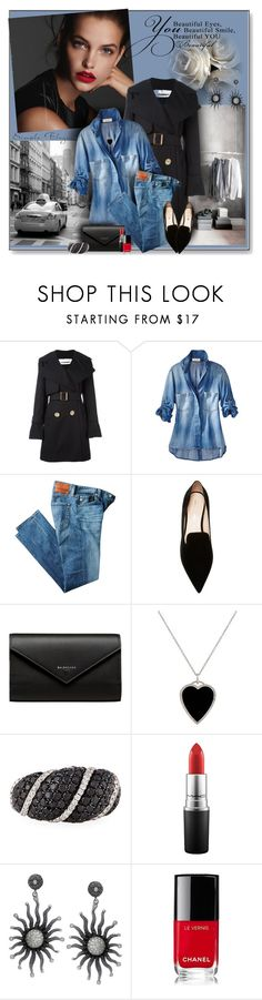 """City Chic"" by perla57 ❤ liked on Polyvore featuring See by Chloé, AG Adriano Goldschmied, Nicholas Kirkwood, Balenciaga, Jennifer Meyer Jewelry, Roberto Coin, MAC Cosmetics and Chanel"