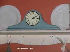 Clock painted with Annie Sloan chalk paint in Duck Egg Blue.