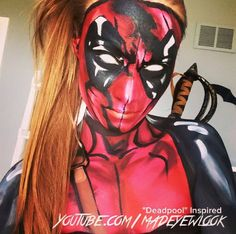 Halloween Makeup : Female tutorial TONIGHT on .com/MadeYewLook! My eyeballs are Amazing Halloween Makeup, Halloween Looks, Halloween Cosplay, Halloween Ideas, Halloween 2018, Sfx Makeup, Cosplay Makeup, Costume Makeup, Deadpool Cosplay