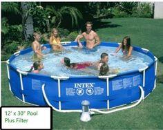 12 X 30 Metal Frame Set Above Ground Swimming Pool Filter Pump Intex Backyard Ro #Intex