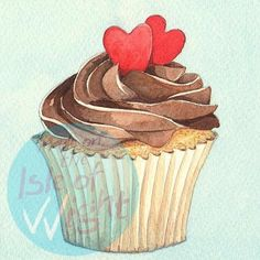 Watercolour cupcake image - love this style for invitations